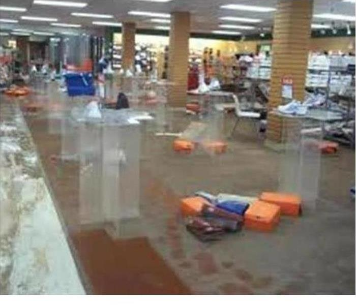 Retail building flooded