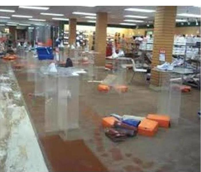Shoe store flooded after a storm